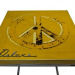 Front view of a table made with the trunk of a AMC Rambler Deluxe 1961 car.