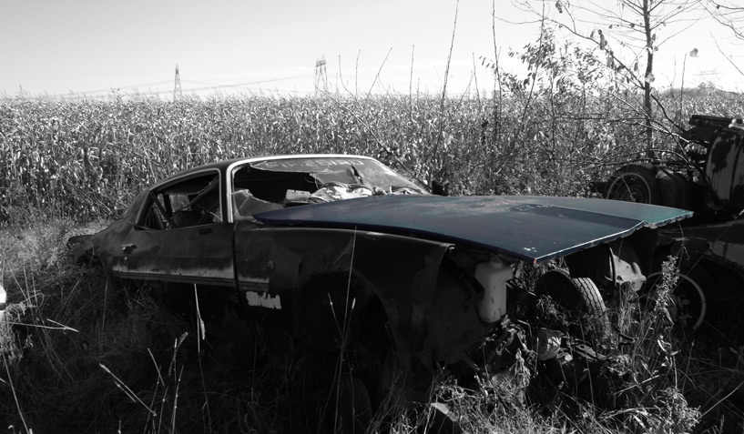 Pontiac Firebird 1979 car on which the hood was taken and is available for the creation of an industrial table or artwork.