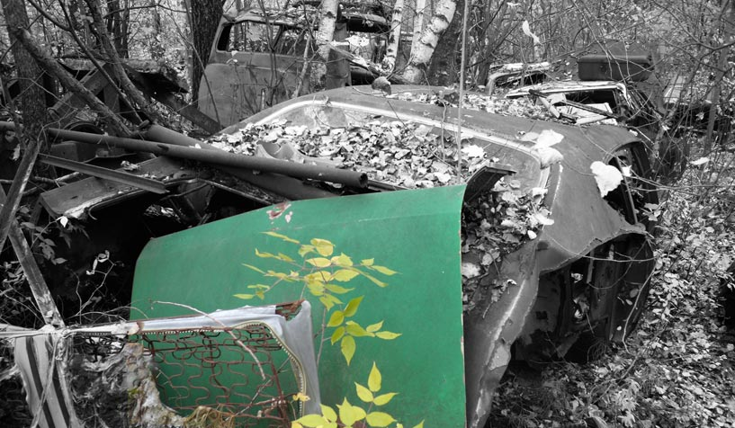 Trunk of a Chevrolet Chevelle available for the creation of an industrial table or artwork.