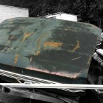 Trunk of a Dodge Dart 1968 available for the creation of an industrial table or artwork.