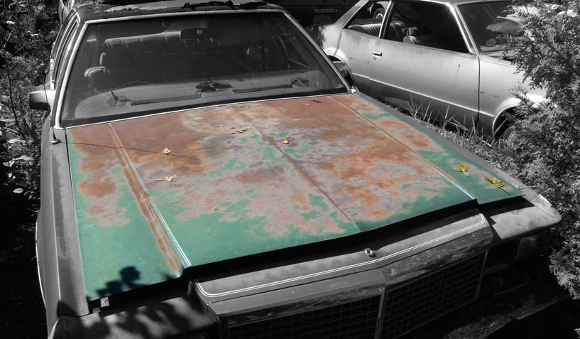 Ford LTD 1979 car on which the hood was taken and is available for the creation of an industrial table or artwork.
