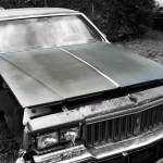 Pontiac Parisienne Brougham 1986 car on which the hood was taken and is available for the creation of an industrial table or artwork.