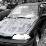 Suzuki Swift 1.3 1987 car on which the hood was taken and is available for the creation of an industrial table or artwork.