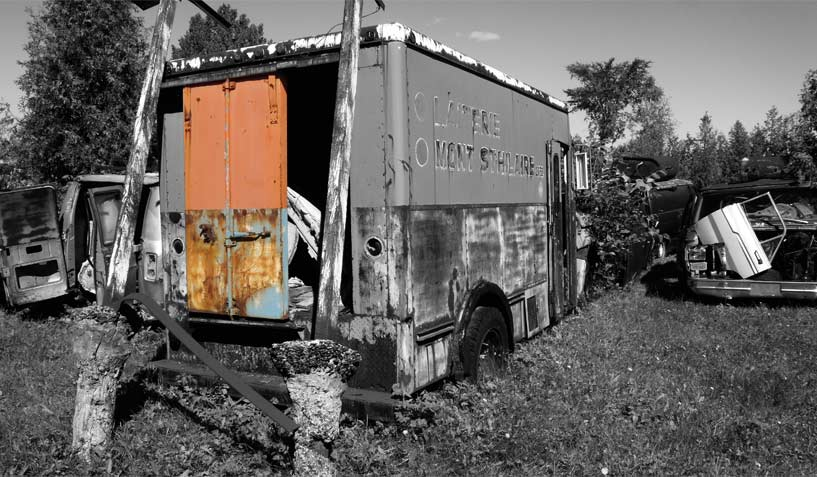 GMC truck on which the door was used for the creation of an industrial artwork.