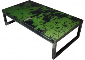 Three quarter view of an industrial table made with the trunk of a Pontiac Parisienne 1966 car.