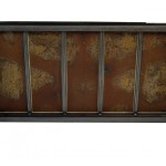 Underside view of a table made with the trunk of a Pontiac Parisienne 1966 car.