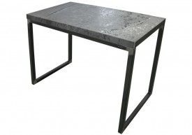 Three quarter view of an industrial table made with the hood of a Toyota 4Runner 1986 car.
