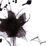 "Detail of ""Botanique 5"" by Jube : a drawing made with pen and China ink on paper."