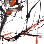 "Detail of ""Botanique 8"" by Jube : a drawing made with China ink and liquid watercolour on paper."