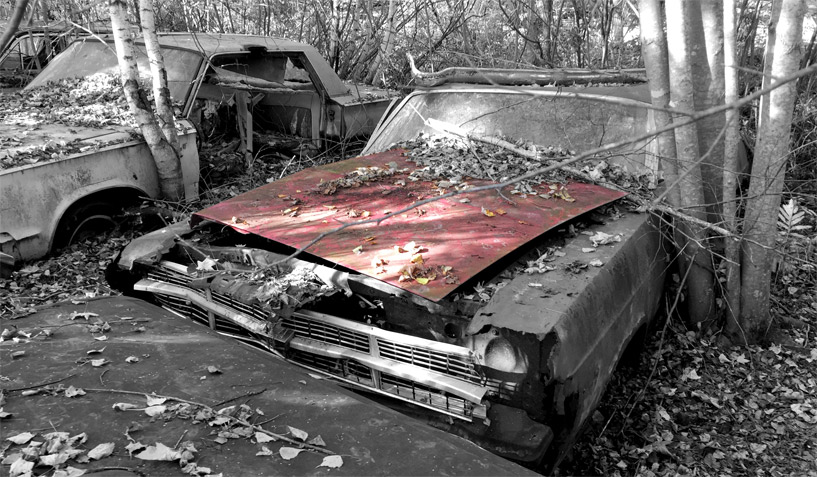1966 Ford Fairlane car on which the hood was taken and is available for the creation of an industrial table or artwork
