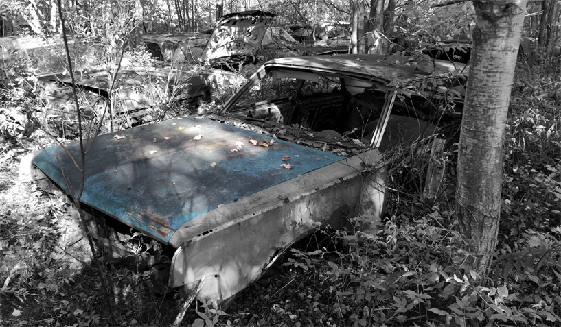 1965 Chrysler 300 car on which the hood was taken and is available for the creation of an industrial table or artwork.