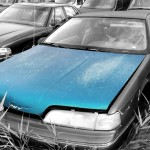 1989 Ford Thunderbird car on which the hood was taken and is available for the creation of an industrial table or artwork.