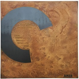 Rust painting 13: artwork made using oxidation techniques on steel by AMER.