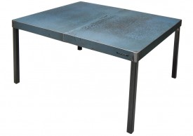 Three quarter view of a table made with the hood of an unknown pale blue car by Oxyd Factory.
