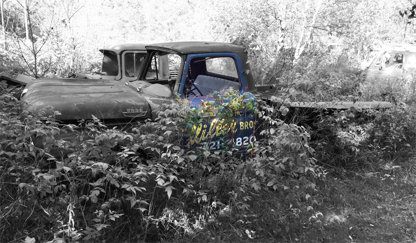 Ford 1965 truck on which the left door with script writing was used for the creation of an industrial artwork.