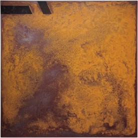 Rust painting Lt 36: artwork made using oxidation techniques on steel by AMER.