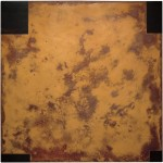 Rust painting Lt 37: artwork made using oxidation techniques on steel by AMER.
