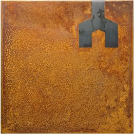 Rust painting Lt 41: artwork made using oxidation techniques on steel by AMER.