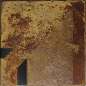 Rust painting Lt 43: artwork made using oxidation techniques on steel by AMER.