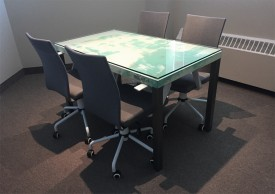 Turquoise, beige and steel 1979 Chevrolet Monte Carlo table made by Oxyd and shown in its environment, as a meeting table.